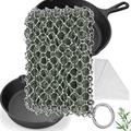 Herda Cast Iron Skillet Cleaner - 3D Chainmail Scrubber Set for Cast Iron with Bamboo Wash Cloth, 316 Stainless Steel Chain Metal Scraper Cleaning Tool Kit Brush for Iron Skillet Pan (Pine Green)