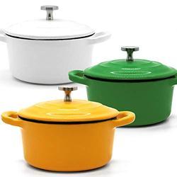 RJ Legend 8.5 oz Cast Iron Pot, Enameled Cast Iron Mini Pot, Round Mini Cocotte, 5.5-Inch Cast Iron Pot with Lid, 3-Piece Cast Iron Set - Green - White - Yellow