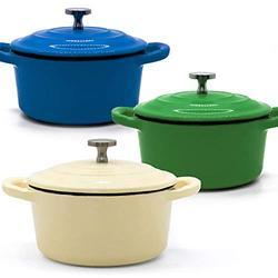 RJ Legend 8.5 oz Cast Iron Pot, Enameled Cast Iron Mini Pot, Round Mini Cocotte, 5.5-Inch Cast Iron Pot with Lid, 3-Piece Cast Iron Set - Blue - Green - White