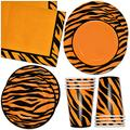 """Tiger Stripe Party Supplies Tableware Set 24 9"""" Plates 24 7"""" Plate 24 9 Oz. Cups 50 Lunch Napkins for Tigers Animal Print Jungle Safari Forest Wild Zoo Pals Baby Shower Birthday Disposable Paper Goods"""