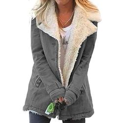 Dokotoo Womens Ladies Winter Long Sleeve Jean Denim Fleece Jacket Collar Button Down Sherpa Fashion Fluffy Cardigans Coats for Women Jackets Outerwear with Pockets Grey Large