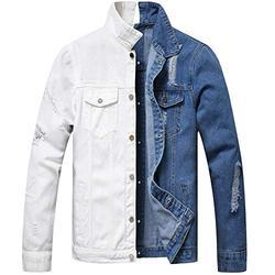 LZLER Jean Jacket for Men,Separable Left&Right Ripped Slim Fit Mens Denim Jacket(1802Blue-White, XX-Large)