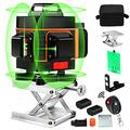 16 Lines Laser Level with Target Plate, Elikliv 4d Laser Level 360 Self Leveling, Green Laser Level Horizontal Vertical with 2 Rechargeable Battery 4000mAh for Home Improvement Measuring Layout Work