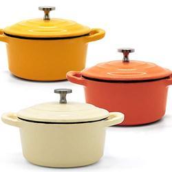 RJ Legend 8.5 oz Cast Iron Pot, Enameled Cast Iron Mini Pot, Round Mini Cocotte, 5.5-Inch Cast Iron Pot with Lid, 3-Piece Cast Iron Set - Orange - White - Yellow