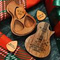 Personalized Wooden Guitar Pick Box with 3 Pcs Guitar Pick Engraved Your Name Guitar Standard Picks Acoustic Electric Bass Guitar Ukulele Custom Guitar Pick Holder Gift for Boyfriend Guitar Player Him