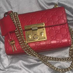 Gucci Bags   Guccissima Small Padlock Shoulder Bag Hibiscus Red   Color: Red   Size: Os
