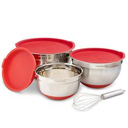 Stainless Steel Salad Mixing Bowl Set of 3, With Non-Slip Silicone bottom and lids, Red, Free Whisk