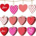Jetec Wooden Heart Embellishments Red and Pink Wood Heart Tags Buffalo Plaid Wood Heart Slice Hanging Heart Decorative Ornaments Crafts for Valentines Day Wedding Anniversary Themed Parties (40)