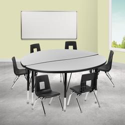 "Flash Furniture 9 Piece Adjustable Height Circular Activity Table & 14"" Chair Set Laminate/Metal, Size 25.2 H x 48.0 W x 48.0 D in | Wayfair"