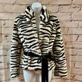 Nine West Jackets & Coats | Ls Fake Fur Short Jacket Sz S | Color: Black/White | Size: S