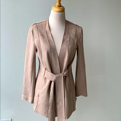 Zara Jackets & Coats   Faux Suede Jacket, Belted, Business Casual, Dressy   Color: Cream/Pink   Size: S