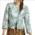 Anthropologie Jackets & Coats | Anthropologie Leifnotes Brocade Teal Swing Jacket | Color: Blue/Green | Size: 4