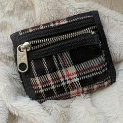 American Eagle Outfitters Bags | 3$20aeo Navy Plaid Billfoldwallet | Color: Cream/Red/Silver | Size: Os