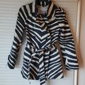 Coach Jackets & Coats | Coach Zebra Print Trench Belted Jacket | Color: Blue/Cream | Size: Xs