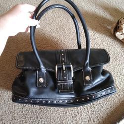 Michael Kors Bags | Authentic Michael Kors Black Leather Studded Bag | Color: Black/Silver | Size: 8 X 15