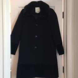 Kate Spade Jackets & Coats | Kate Spade Wool Faux Fur Vlvt Trim Coat | Color: Black | Size: 2(Fits 6)