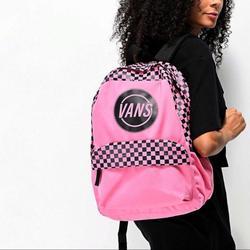 Vans Bags | Logo Checkered Backpack Pink Vans | Color: Black/Pink | Size: 17 H X 12.75 L X 4.75 D |