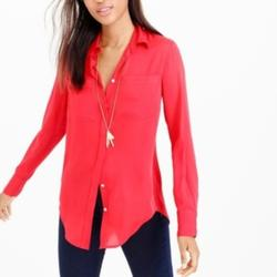 J. Crew Tops   J Crew Perfect Cotton Silk Classic Shirt S   Color: Red   Size: S