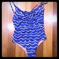 J. Crew Swim | J. Crew Playa Laguna Blue Printed Ruched One Piece | Color: Blue | Size: S