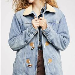 Free People Jackets & Coats   Free People Denim Coat Fauxfur Lined Toggle Jacket   Color: Blue   Size: S