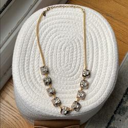 J. Crew Jewelry | J Crew Statement Necklace | Color: Gold/White | Size: 18 Inches With 3 Inch Extender