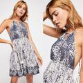Free People Dresses | Free People Beach Day Halter Sexy Mini Dress $118 | Color: Blue/White | Size: S
