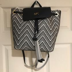 Michael Kors Bags   Nwt Michael Kors Junie Medium Leather Backpack   Color: Blue/White   Size: Os