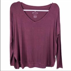 American Eagle Outfitters Tops | Ae Soft & Sexy Burgundy V-Neck Ls Tee Xs | Color: Tan | Size: Xs