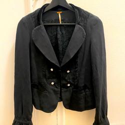Free People Jackets & Coats | Lace And Velvet Trimmed Free People Crop Jacket | Color: Black | Size: 4
