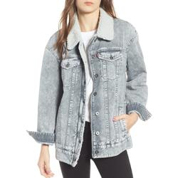 Levi's Jackets & Coats   Levis Oversized Trucker Jean Sherpa Jacket   Color: Cream/Gray   Size: Xs