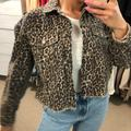 Free People Jackets & Coats | Free People Leopard Print Denim Jacket | Color: Brown | Size: Xs