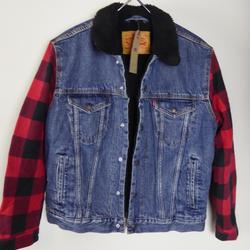 Levi's Jackets & Coats | Levis Sherpa Lined Denim Jacket Buffalo Plaid Nwt | Color: Blue/Red | Size: Various