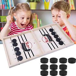 SGASD Wood Tables Family Games,Tabletop Curling Game,Slingshot Games Toy,Table Battle 2 in 1 Ice Hockey Game, Winner Board Games Toys for Kids & Family,Kids(10)