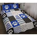 Dog Shape Pattern Blue Quilt - Live Love Bark Quilt Quilt Patterns All-Season Quilts Comforters with Cotton - King Queen Twin Size Beach Trips, Gifts Quilt