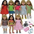 The New York Doll Collection 18 Inch Doll Clothes Dress and Doll Accessories fits American Girl Dolls - Doll Clothing Outfits Summer Wardrobe - fits ag -Doll Camera and Tennis Set (D376)