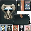 Artyond All-New Fire HD 8 Case, PU Leather Card Slots Shell with Auto Wake/Sleep Stand Folio Case for All Amazon Kindle Fire HD 8 (6th Gen/7th Gen/ 8th Gen, 2016/2017/2018 Release), Cool Elephant