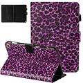 Fire HD 8 Plus Case 2020,Fire HD 8 Case 10th Generation 2020, APOLL Slim Folding Stand Auto Wake/Sleep Smart Lightweight Protective Cover with Card/Stylus Holder for Fire HD 8, D-Purple Leopard Print