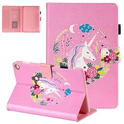 Fire HD 8 Plus Case 2020,Fire HD 8 Case 10th Generation 2020, APOLL Slim Folding Stand Auto Wake/Sleep Smart Lightweight Protective Cover with Card/Stylus Holder for Fire HD 8, D-Pink Unicorn