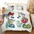 cadkanri Disney Mickey Minnie Mouse Bedding Set Kids Cartoon Disney Duvet Cover Pillowcases Twin Full Queen King Size Bed Set leelei (Color : 13, Size : US King(3PC))