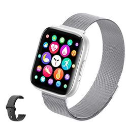 Sebay Smart Android Watch, Fitness Tracker Watches for Men/Women, Smart Watch for Android Phones/iOS, Blood Pressure Watches for Women, Digital Watch Womens and Step Counter (T99 Silver)