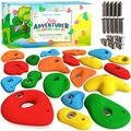 ZULY 20 Climbing Holds Set for Kids, Solid Resin Non-Plastic Rock Climbing for Kids & Adults,Climbing Wall Holds Set with Installation Hardware Rock Grips for Indoor n Outdoor (Mixed Sizes)…