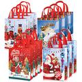 Whaline 12 Pack Christmas Non-Woven Bags Large Tote Bags with Handles Reusable Gift Bag Grocery Shopping Bags Santa Xmas Tree Party Treat Bags Waterproof Reusable Goodie Bags for Holiday Favors
