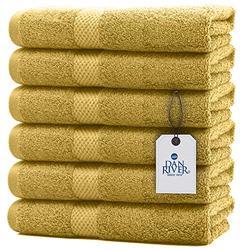 DAN RIVER 100% Cotton Hand Towel Set of 6  Soft Bathroom Hand Towels  Salon Towel  Absorbent  Extra Large Hand Towel  Spa Hand Towel  Gym Hand Towel  Yellow Hand Towel  Hand Towel 16x28 in  600 GSM
