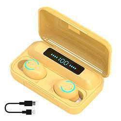 MOHALIKO F9-9 TWS Wireless Earbuds, Earbuds, Bluetooth 5.0 Headphones, Wireless Bluetooth 5.0 in-Ear Earbuds Touch Control Binaural Earphones for Work, Home Office Yellow