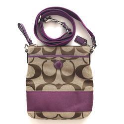 Coach Bags   Coach Canvas Crossbody Messenger Bag   Color: Brown/Purple   Size: Os