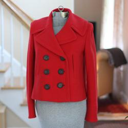 J. Crew Jackets & Coats | J. Crew Red Wool Pea Coat With Black Buttons | Color: Black/Red | Size: 4