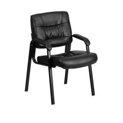 Flash Furniture Black Leather LeatherSoft Executive Side Reception Chair with Powder Coated Frame