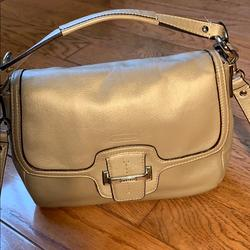 Coach Bags | Coach Taylor Leather Flap Over Crossbody | Color: Silver | Size: Os