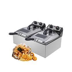 WantJoin Commercial Non Smoke Deep Fryer with Visible Window deep fryer 2500W 12L (6L*2)Stainless Steel French Fry Double Deep Fast Fryer with 2 Baskets,Commercial Restaurant,Fast Food Restaurant
