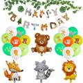 Wooland Animals Baby Shower Decorations Animal-Themed Birthday Party Decorations, Animal Balloons, Zoo Animals Leaves Happy Birthday Banner, Kids 1st Birthday Decor